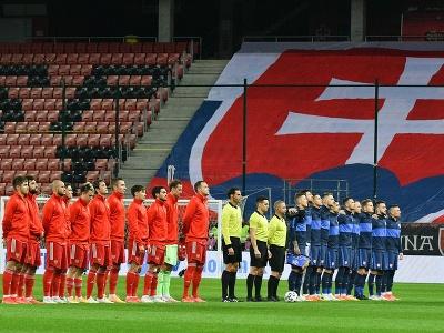 Ruskí a slovenskí reprezentanti pred zápasom
