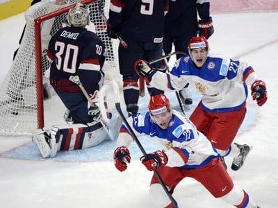 Radosť ruských hokejistov po