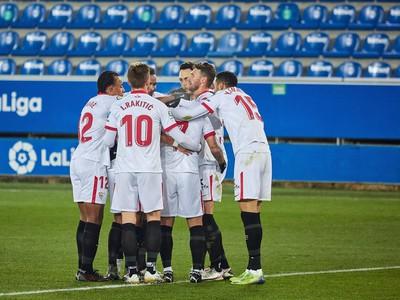 Radosť hráčov Sevilla FC
