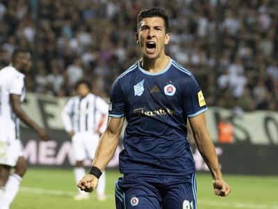 Na snímke Vernon De Marco sa raduje po strelená vyrovnávajúceho gólu na 2:2 počas odvetného stretnutia play off futbalovej Európskej ligy UEFA, PAOK FC Solún - ŠK Slovan Bratislava