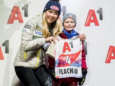 Mikaela Shiffrinová počas žrebu vo Flachau