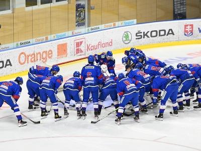 Na snímke tím slovenskej hokejovej reprezentácie do 20 rokov stojí pred svojou bránou pred priateľským zápasom proti svojim rovesníkom z Českej republiky