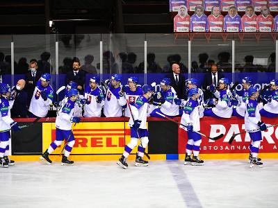 Slovenskí hokejisti sa tešia