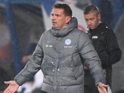 Tréner slovenskej futbalovej reprezentácie Štefan Tarkovič gestikuluje