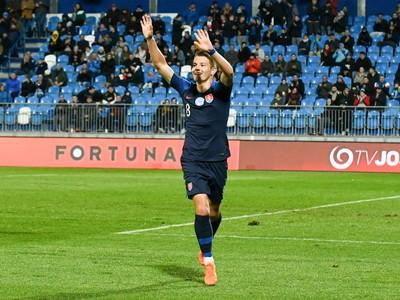 Radosť Martina Gamboša strelenom góle v zápase s Azerbajdžanom