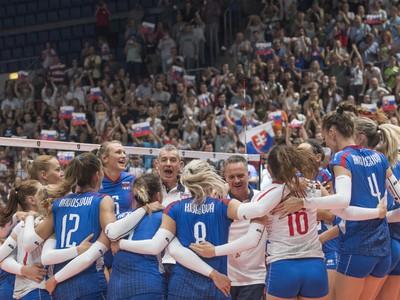 Slovenské volejbalistky sa radujú