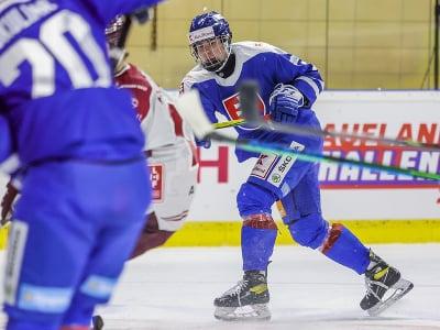 Vpravo obranca Šimon Nemec (SR) v druhom prípravnom zápase slovenskej hokejovej reprezentácie pred majstrovstvami sveta 2021 v lotyšskej Rige proti Lotyšsku v Piešťanoch