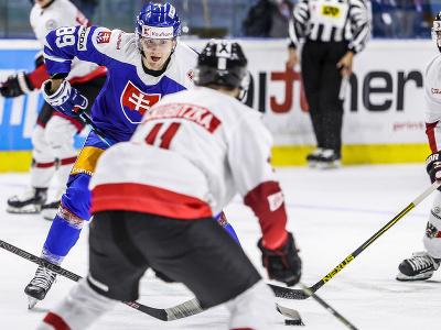 Na snímke Adrián Holešinský (Slovensko) počas šiesteho prípravného zápasu slovenskej hokejovej reprezentácie pred majstrovstvami sveta