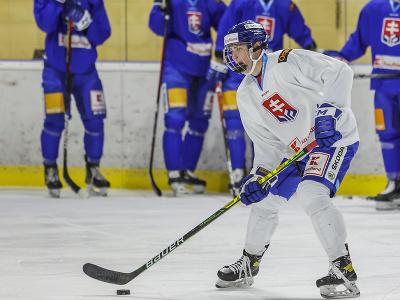 Na snímke Šimon Nemec počas tréningu slovenskej hokejovej reprezentácie
