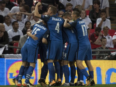 Radosť Slovákov po góle