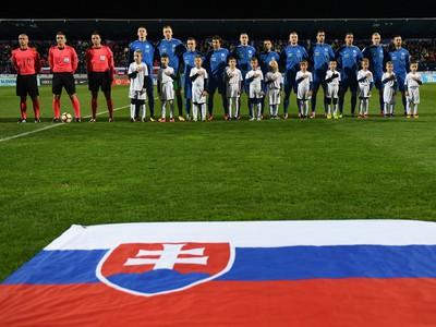 Hráči Slovenska pred zápasom