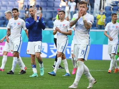 Na snímke slovenskí futbalisti,