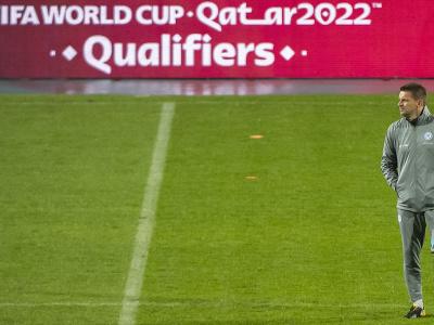 Tréner slovenskej futbalovej reprezentácie Štefan Tarkovič počas tréningu pred pondelkovým kvalifikačným zápasom H-skupiny na MS 2022 Chorvátsko - Slovensko