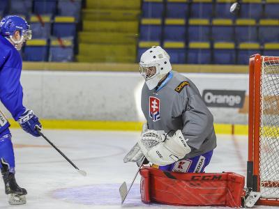 Brankár Filip Belányi počas prípravného kempu slovenskej hokejovej reprezentácie.