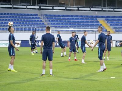 Na snímke tréning slovenskej futbalovej reprezentácie pred utorňajším kvalifikačným stretnutím