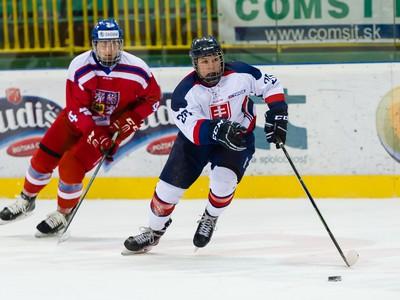 Ondřej Buchtela z tímu Česko U18 a Jakub Kover z tímu Slovensko U18