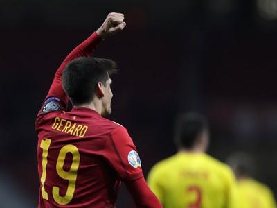 Gerard Moreno oslavuje svoj gól v zápase s Rumunskom