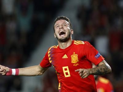 Radosť hráča Španielska Saúla Ñígueza