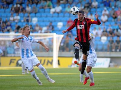 Illya Cherednychenko z FC Nitra a Erik Jirka z FC Spatak Trnava