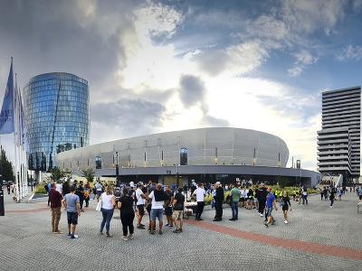 Futbalový štadión ŠK Slovan Bratislava pred začiatkom zápasu F-skupiny 1. kola skupinovej fázy Európskej konferenčnej ligy ŠK Slovan Bratislava - FC Kodaň