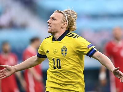 Emil Forsberg oslavuje gól