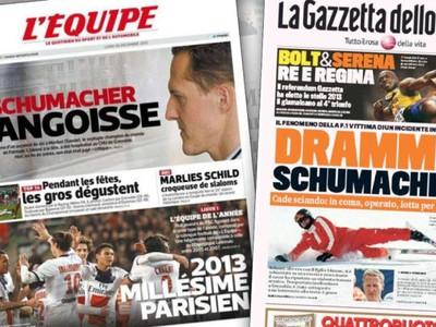 Titulky najväčších denníkov v Európe informujú o tragédii Michaela Schumachera