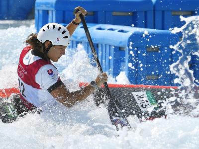 Na snímke slovenská reprezentantka vo vodnom slalome Monika Škáchová v semifinálovej jazde v kategórii C1 počas XXXII. letných olympijských hier v Tokiu