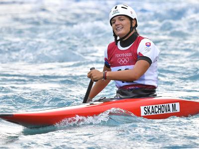 Slovenská reprezentantka vo vodnom slalome Monika Škáchová po finálovej jazde v kategórii C1 počas XXXII. letných olympijských hier v Tokiu