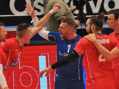 Víťazné oslavy volejbalistov Česka