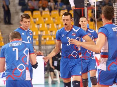 Slovenskí volejbalisti v zápase