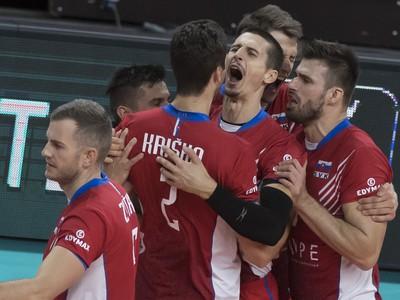Na snímke slovenskí volejbalisti v zápase B -skupiny na ME vo volejbale mužov Nemecko - Slovensko