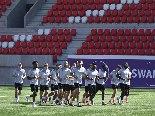 Futbalisti AS Trenčín počas tréningu