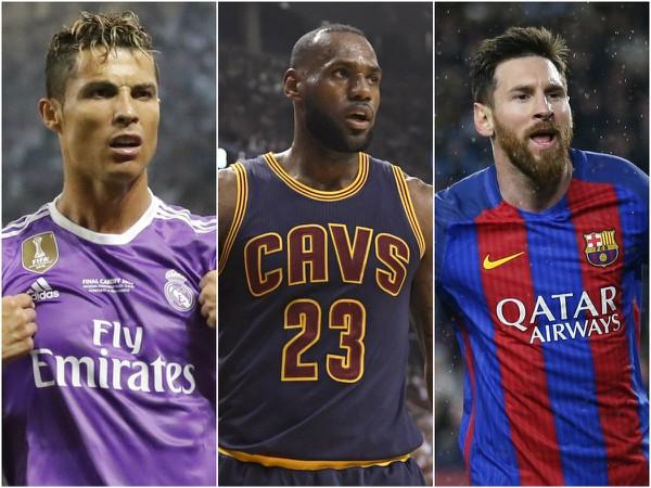 Cristiano Ronaldo, LeBron James a Lionel Messi
