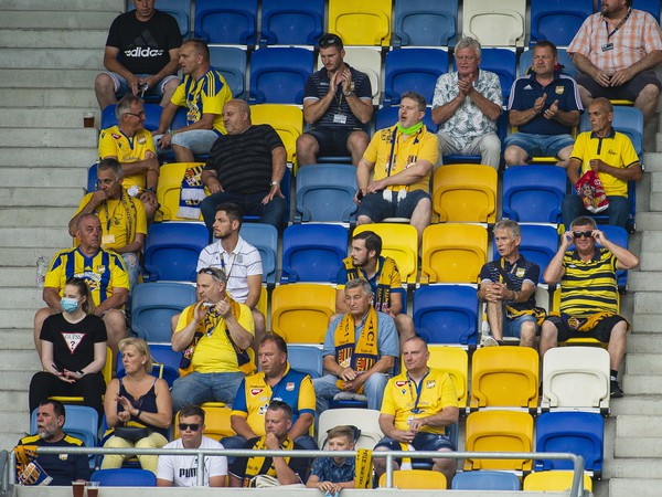 Na snímke fanúšikovia DAC Dunajská Streda na tribúne počas zápasu 3. kola nadstavbovej časti  Fortuna ligy vo futbale v skupine o titul