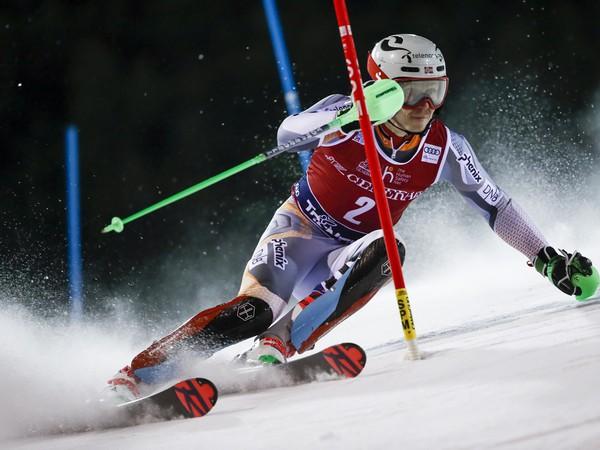 Henrik Kristoffersen v slalome v Madonne di Capmiglio