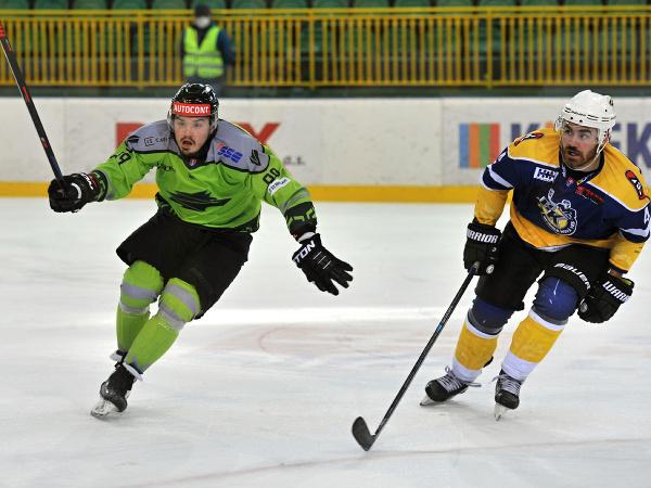 Momentka zo zápasu finále play off SHL Vlci Žilina - HK Spišská Nová Ves