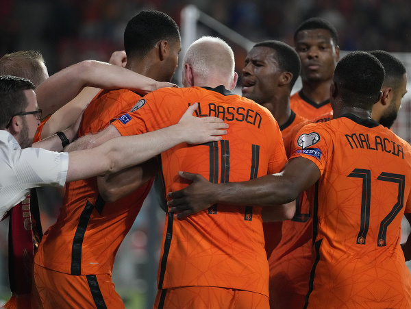 Radosť hráčov Holandska po