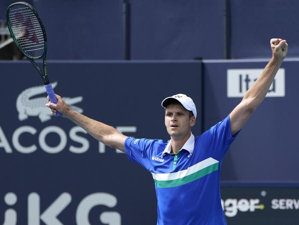 Na snímke poľský tenista Hubert Hurkacz