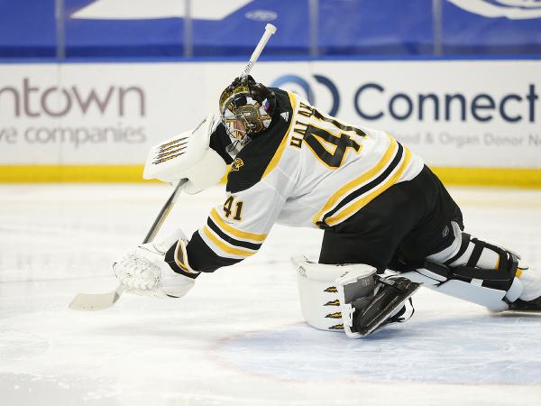 Jaroslav Halák v bránke Bruins