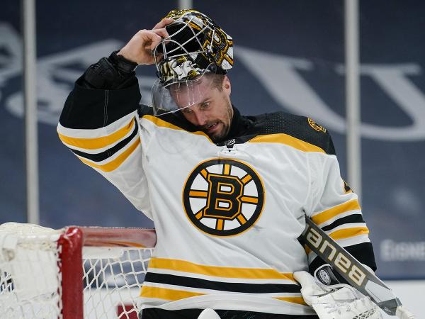 Slovenský hokejový brankár v drese Bostonu Bruins Jaroslav Halák