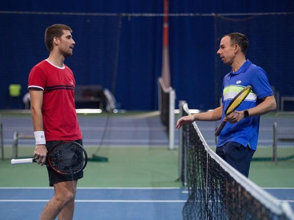 Martin Kližan a Dominik Hrbatý počas tréningu