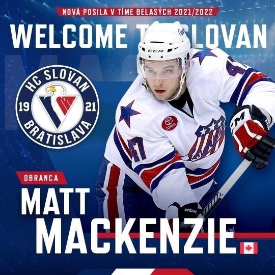 Matt MacKenzie je novou posilou HC Slovan Bratislava