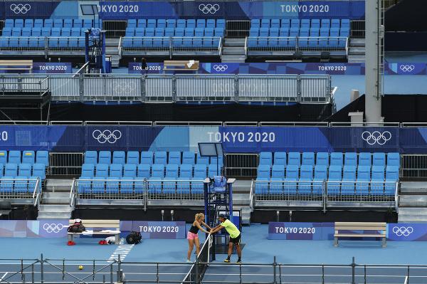 Tomáš Macháč a Kateřina Siniaková v Ariake Tennis Center v Tokiu