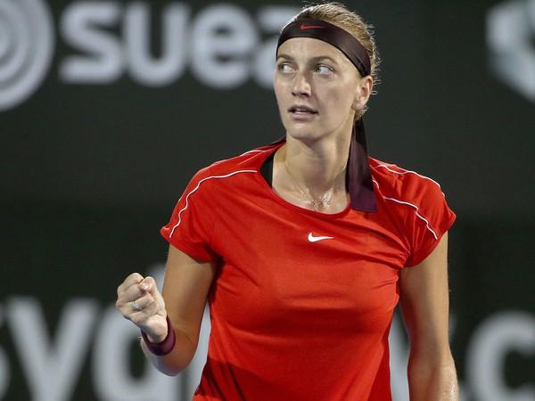 Česká tenistka Petra Kvitová reaguje po výhre prvého setu v zápase proti Bieloruske Aliaksandre Sasnovičovej v semifinále tenisového turnaja WTA v Sydney