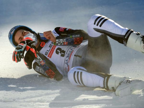Slovenská lyžiarka Petra Vlhová sa teší z víťazstva v obrovskom slalome Svetového pohára alpských lyžiarok 7. marca 2021 v Jasnej