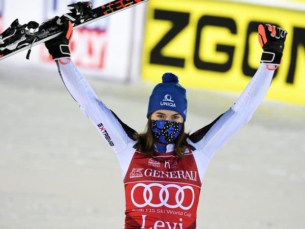 Petra Vlhová a jej víťazné oslavy