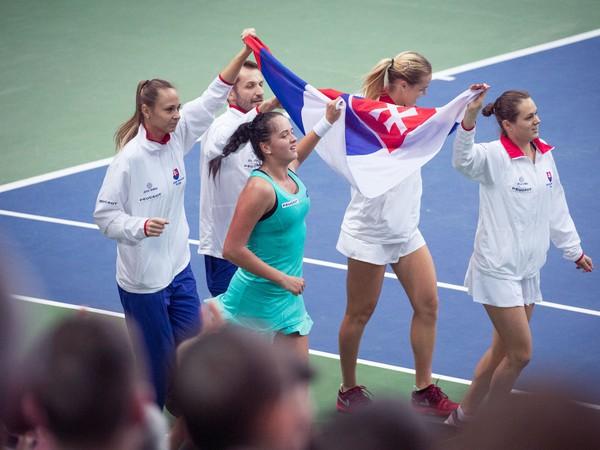 Radosť z víťazstva slovenského fedcupového tímu nad Ruskom