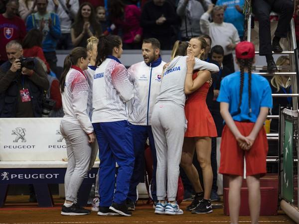 Radosť slovenského tímu po kvalifikačnom zápase