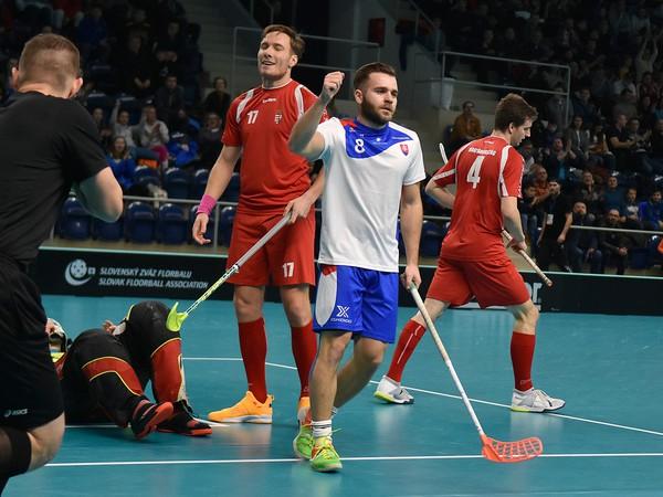 Na snímke hráč Slovenska Martin Kubovič (uprostred) sa teší z gólu