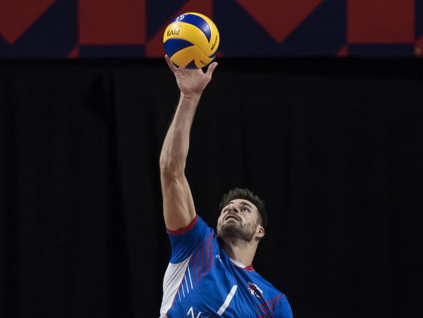 Na snímke Peter Michalovič (Slovensko) v zápase B-skupiny na ME vo volejbale mužov Slovensko - Španielsko